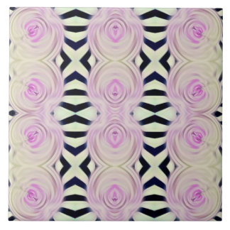 Zebras and pink roses on tile