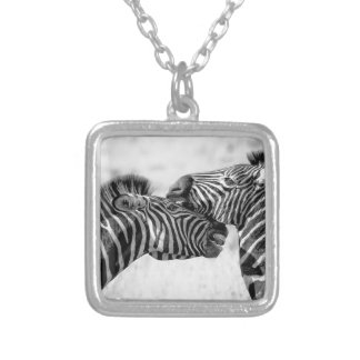 Zebras In Africa Silver Plated Necklace