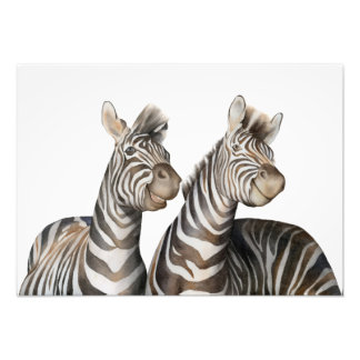 Zebras Watercolor Photo Print
