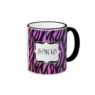 Zèbre pourpre/rose chaud barre le monogramme mug à café