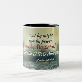 Zechariah 4:6 Not by might nor by power, Bible Two-Tone Coffee Mug