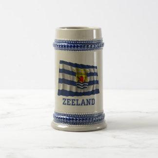 Zeeland Waving Flag with Name Beer Stein