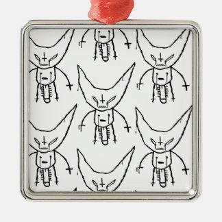 ZEF Devil Dik Silver-Colored Square Ornament