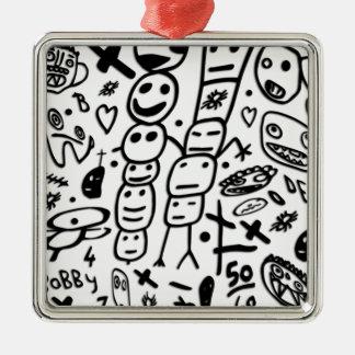 Zef Prawn Silver-Colored Square Ornament