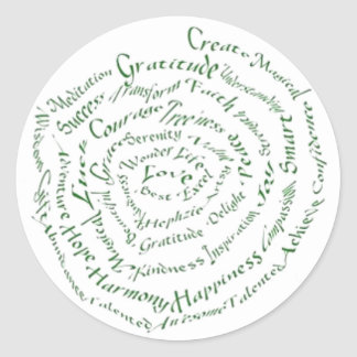"Zen Art  ""Vibrate your Blessings"" Classic Round Sticker"