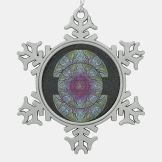 Zen Awakening, reiki, healing, chakra Snowflake Pewter Christmas Ornament