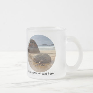 Zen Balanced Rocks on Australia Beach Frosted Glass Mug