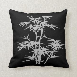 Zen bamboo Asian style on black Throw Pillow