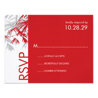 Zen Bamboo Leaves Modern Asian Wedding RSVP Card