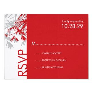 "Zen Bamboo Leaves Modern Asian Wedding RSVP Card 4.25"" X 5.5"" Invitation Card"