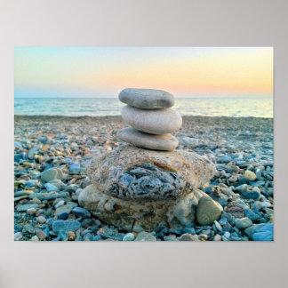 Zen Beach Stones Poster