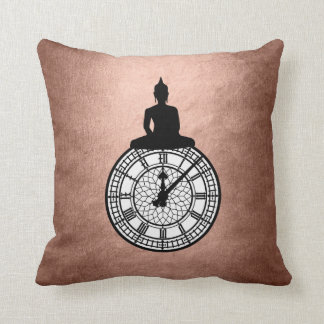 Zen Budda Londoner Big Ban Clock Pink Rose Gold Throw Pillow