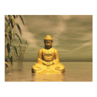 Zen buddha meditating postcard