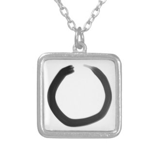 Zen Buddhist Enso Circle Silver Plated Necklace