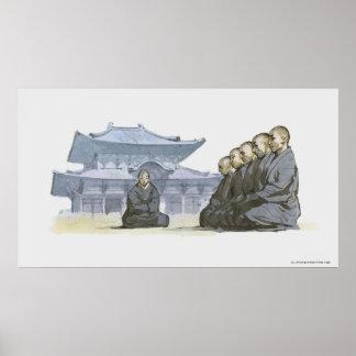 Zen Buddhist monks kneeling outside temple Poster