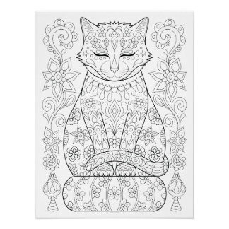 Zen Cat Coloring Poster - Colorable Cat Art Poster