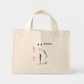 Zen Cat Meditation -  Sumi-e [ink painting] Mini Tote Bag