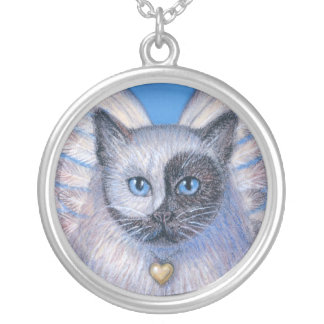 Zen Cat with Surreal Yin-Yang Face necklace