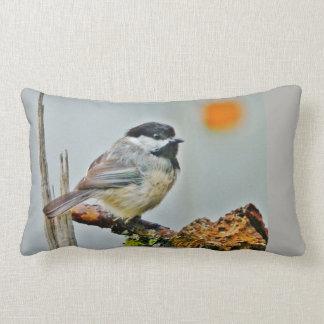ZEN Chickadee with Sepia Floral Still-life Lumbar Pillow