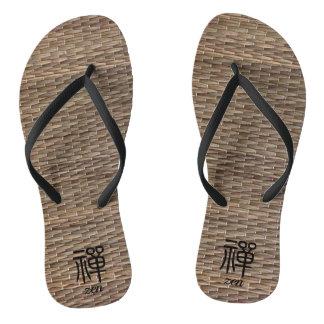 Zen Chinese calligraphy on tatami Flip Flops
