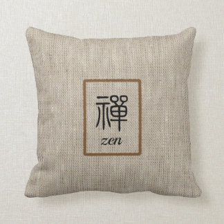 Zen Chinese word and text on beige burlap print Throw Pillow