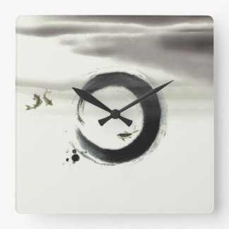 Zen Circle Enso Koi Brush Painting Art Wallclocks