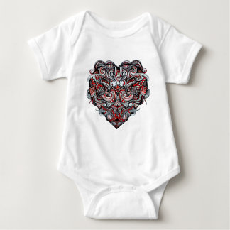 Zen Doodle Abstract Heart Shaped Red White Black Baby Bodysuit