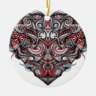 Zen Doodle Abstract Heart Shaped Red White Black Round Ceramic Ornament