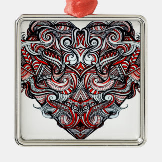 Zen Doodle Abstract Heart Shaped Red White Black Silver-Colored Square Ornament