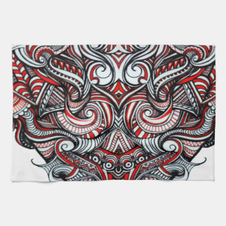 Zen Doodle Abstract Heart Shaped Red White Black Towel