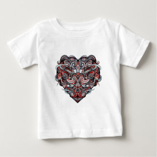 Zen Doodle Heart Shape Red, White, Black Abstract Baby T-Shirt