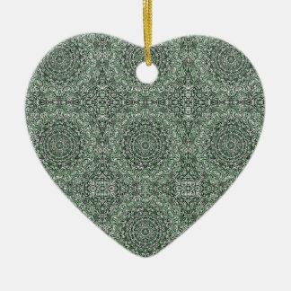 Zen Doodle Zen Tangle Tribal Ornate Detail Green Ceramic Ornament