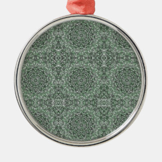 Zen Doodle Zen Tangle Tribal Ornate Detail Green Metal Ornament