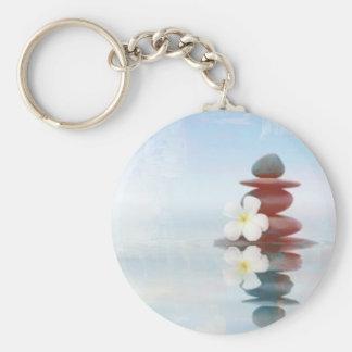 Zen Dreams - Light Blue Design Basic Round Button Keychain