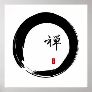 Zen Enso avec la calligraphie de zen Poster