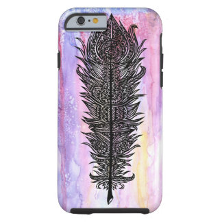 Zen Feather Design w/ Watercolor Backdrop Tough iPhone 6 Case