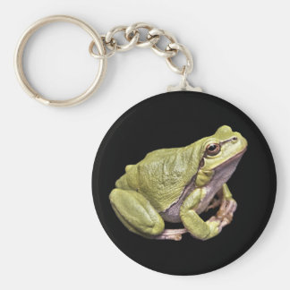 Zen Frog Cute Green Meditation Treefrog Black Basic Round Button Keychain