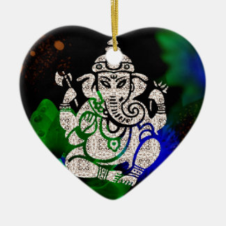 Zen Ganesh Ceramic Heart Ornament