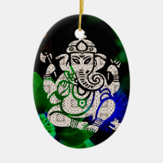 Zen Ganesh Ceramic Oval Ornament