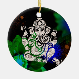 Zen Ganesh Round Ceramic Ornament