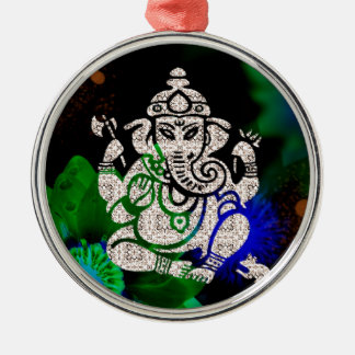 Zen Ganesh Silver-Colored Round Ornament