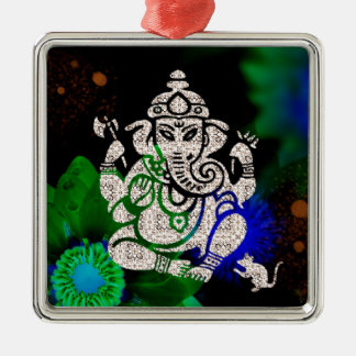 Zen Ganesh Silver-Colored Square Ornament