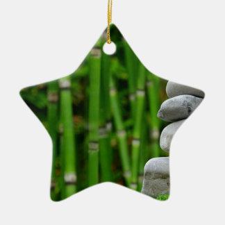 Zen Garden Meditation Monk Stones Bamboo Rest Ceramic Ornament