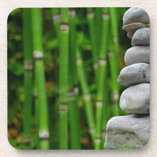 Zen Garden Meditation Monk Stones Bamboo Rest Coaster