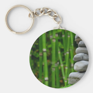 Zen Garden Meditation Monk Stones Bamboo Rest Keychain