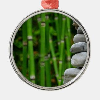 Zen Garden Meditation Monk Stones Bamboo Rest Metal Ornament