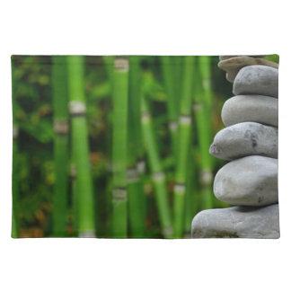 Zen Garden Meditation Monk Stones Bamboo Rest Placemat