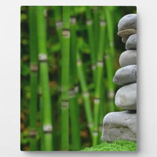 Zen Garden Meditation Monk Stones Bamboo Rest Plaque