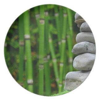 Zen Garden Meditation Monk Stones Bamboo Rest Plate