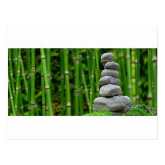 Zen Garden Meditation Monk Stones Bamboo Rest Postcard